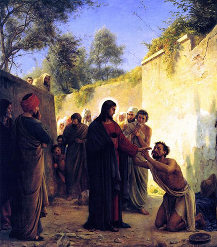 Healing of the Blind Man by Carl Heinrich Bloch